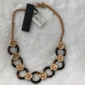 NWT J.Crew Tortoise Link & Gold Flower Necklace